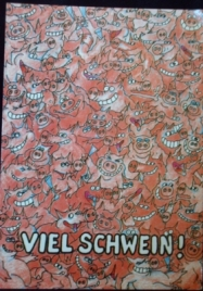 Pig Post Card, Viel Glueck Schweine Postkarte