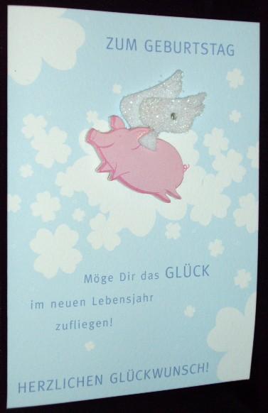 flying pig birthday card