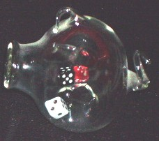 glass with dice inside