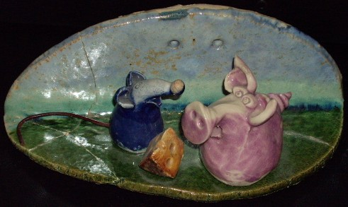 pig ceramic plaque