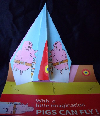 pig paper plane, pigs can fly