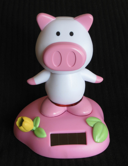 2pc Set Pig Piglet Solar Pink Solar Powered Flip Flap Bobble Pig