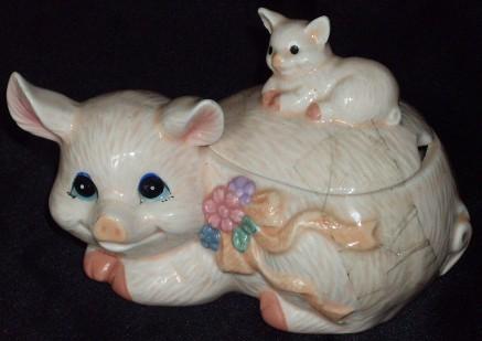 pig sugar bowl, schweine zuckerdose