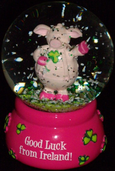 Irish Pig Water Globe, Water Globe
