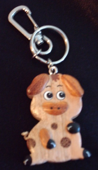 Wooden Key Chain Pig