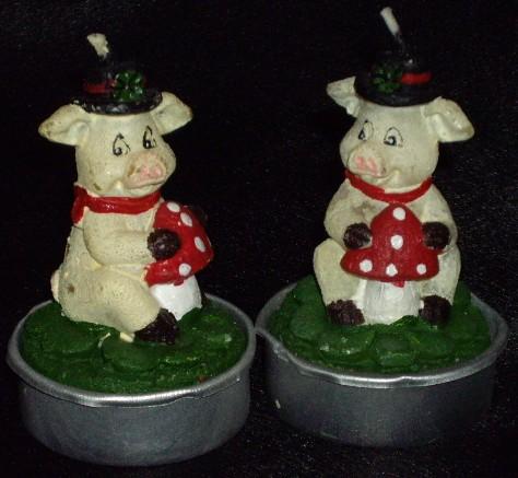 Schweine Kerzen, Pig Tea Candles