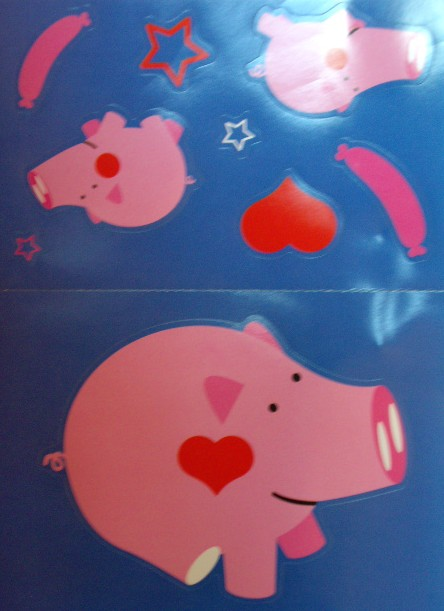 Fold Up Card with Pig Stickers