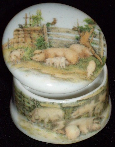 Porcelain Hand-Painted Pig Pill Box from Ireland